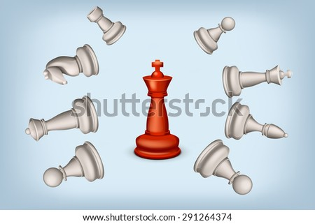 illustration of one red king and some beaten white figures on blue background - stock vector