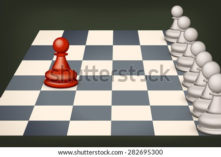 illustration of one red pawn and group white pawns - stock vector