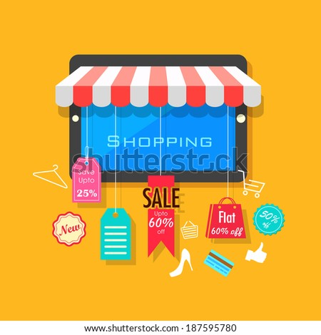illustration of online shopping and sale concept - stock vector