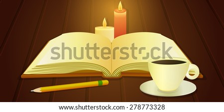 Illustration of open book, cup of coffee on the wooden desk