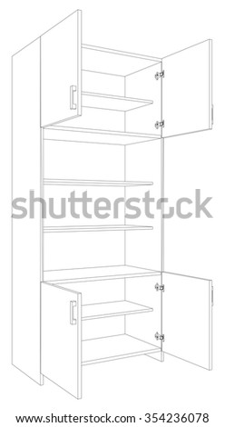 Illustration of open cabinet on white background, side view - stock vector