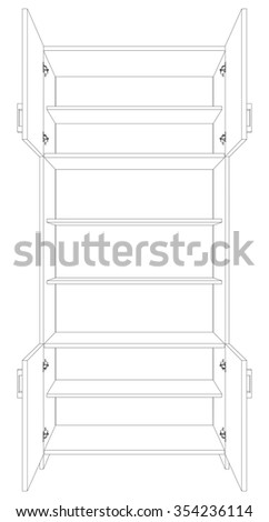 Illustration of open cabinet on white background, vector - stock vector
