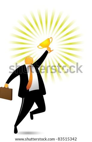 Illustration of Orange Head Man Getting Award - stock vector