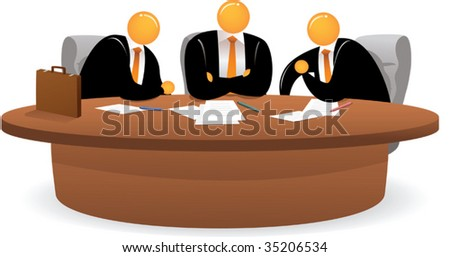 Illustration of Orange Head Man on meeting - stock vector