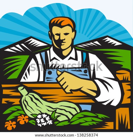 Illustration of organic farmer with crop produce harvest of vegetables facing front on fence with farm field and mountains in background done in retro woodcut style - stock vector