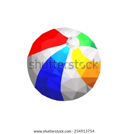 Illustration of origami beach ball isolated on white background - stock vector