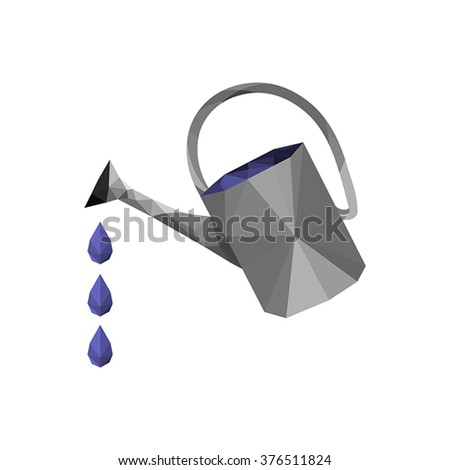 Illustration of origami watering can with water drops isolated on white background