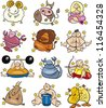Illustration of overweight humorous cartoon zodiac horoscope signs set - stock photo