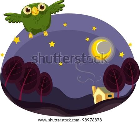 Illustration of owl flying at night - stock vector