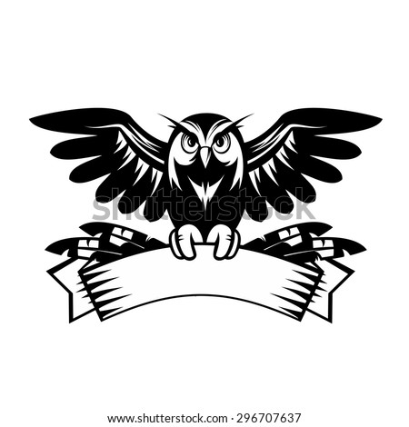 Illustration of owl sitting on the banner