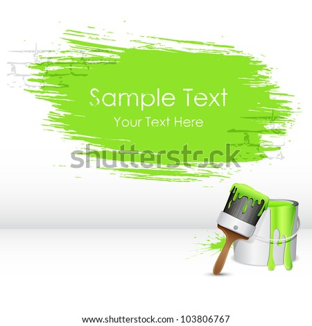 illustration of paint bucket with paint brush and paint stroke