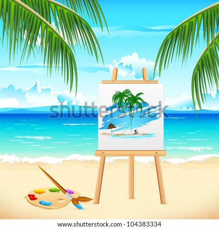 illustration of painting of sea beach on easel - stock vector