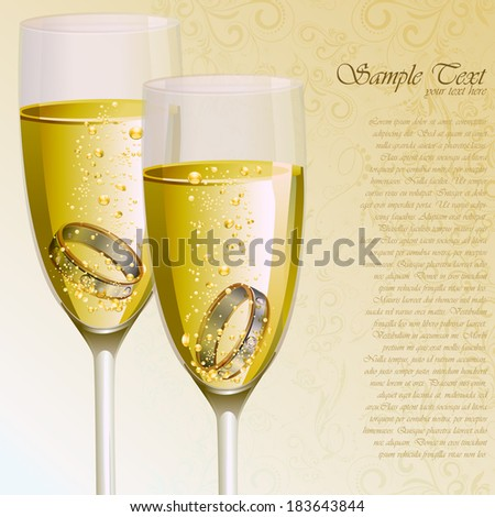 illustration of pair of engagement ring in champagne glass - stock vector