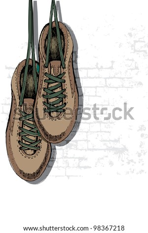 illustration of pair of grungy shoe hanging on wall - stock vector