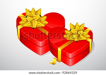 illustration of pair of heart shaped gift box - stock vector