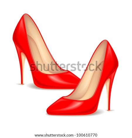 illustration of pair of red high heel shoe for female - stock vector