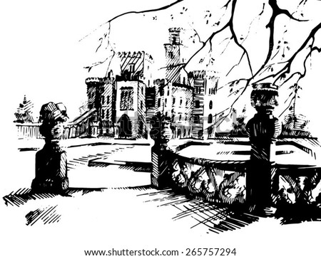 Illustration of palace.  Sketch digital drawing artistic picture.