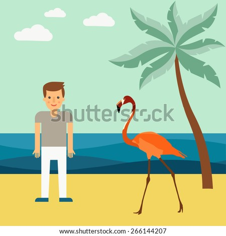 Illustration of palm trees and flamingos on the beach