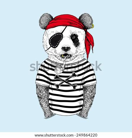 illustration of panda pirate - stock vector