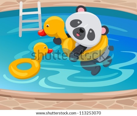 illustration of  panda swimming with duck tube - stock vector