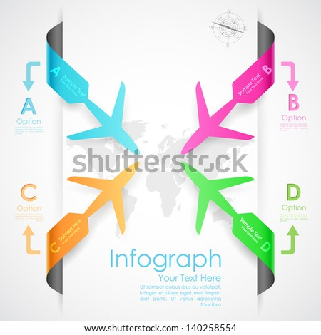 illustration of paper airplane in travel infographic banner - stock vector