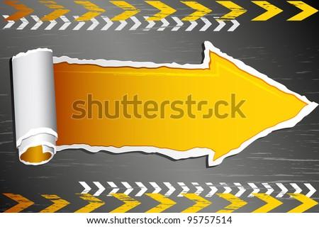 illustration of paper arrow on under construction board - stock vector