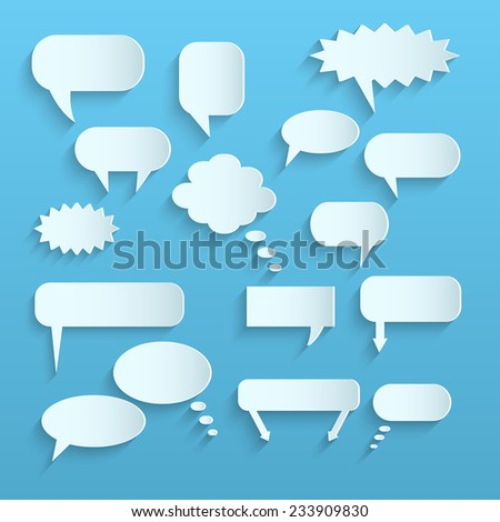 Illustration of paper chat bubbles against a light background. - stock vector
