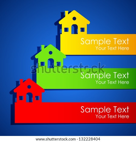 illustration of paper cut house for real estate exhibition poster - stock vector