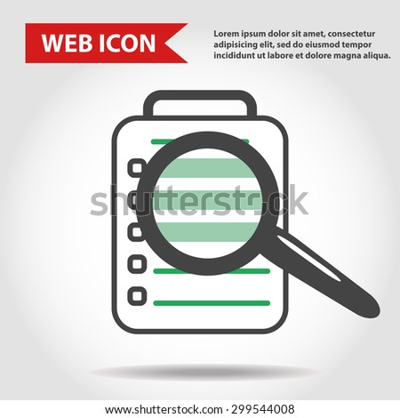 Illustration of paper document web icon with loupe, magnifying glass, vector.