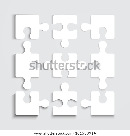 Illustration of Paper flat puzzle template layout vector illustration  - stock vector
