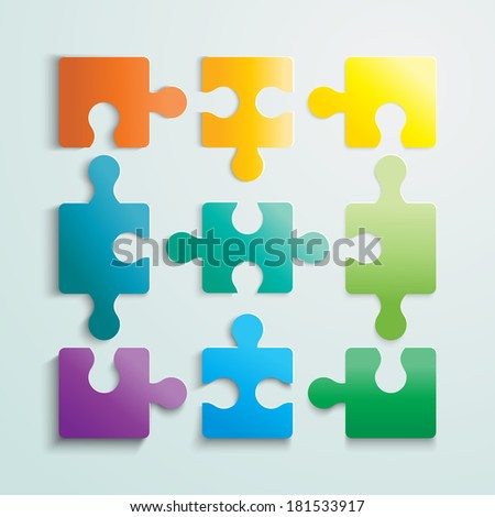 Illustration of Paper flat puzzle template layout vector illustration