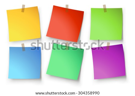 illustration of paper lists set with different shapes and color