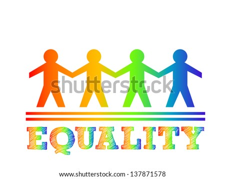Illustration of paper man for equality concept - stock vector