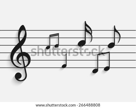 Illustration of paper musical notes against a light background. - stock vector