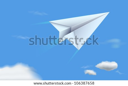 illustration of paper plane flying in sky - stock vector