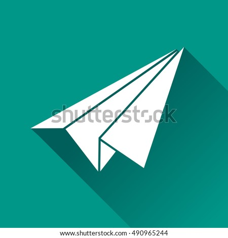 Illustration of paper plane icon with shadow