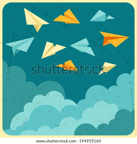 Illustration of paper planes on the sky with clouds. - stock vector