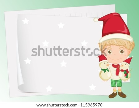 illustration of paper sheets and a boy