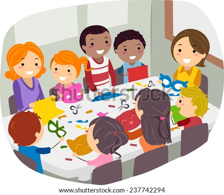 Illustration of Parents and Their Friends Doing Paper Crafts Together - stock vector