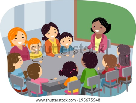 Illustration of Parents and Their Kids Attending a PTA Meeting - stock vector