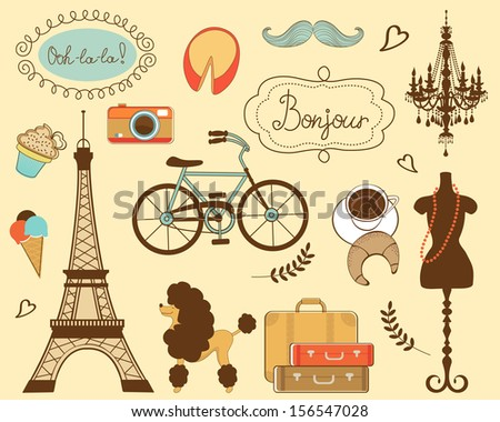 Illustration of paris related items - stock vector