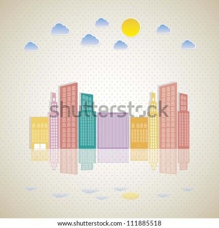 Illustration of pastel buildings, vector illustration - stock vector