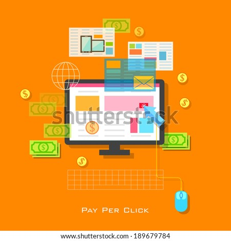 illustration of Pay per Click concept in flat style - stock vector