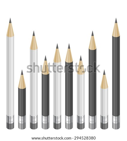 Illustration of pencils in white and black colors with erasers isolated