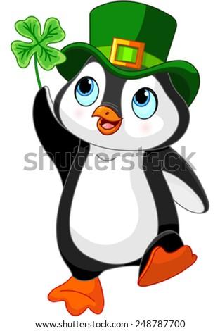 Illustration of Penguin celebrates Saint Patrick Day - stock vector