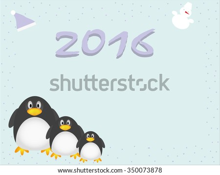 Illustration of penguins, hat, snowman and snow. Suits for background, congratulation or invitation card  - stock vector