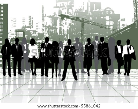 Illustration of people and buildings