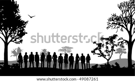 Illustration of people and nature