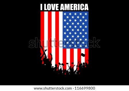 illustration of people cheering on American flag background - stock vector