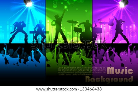 illustration of people cheering rock band musical performance - stock vector